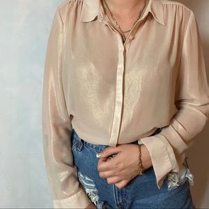 SHELLI SEGAL CHAMPAGNE SHIMMER COLLARED BLOUSE